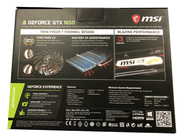 MSI GTX 1650 Back Side Details